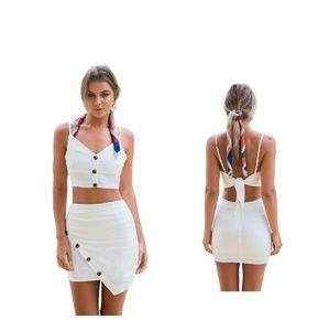 Backless Sleeveless Strap top and Wrap Skirt Set